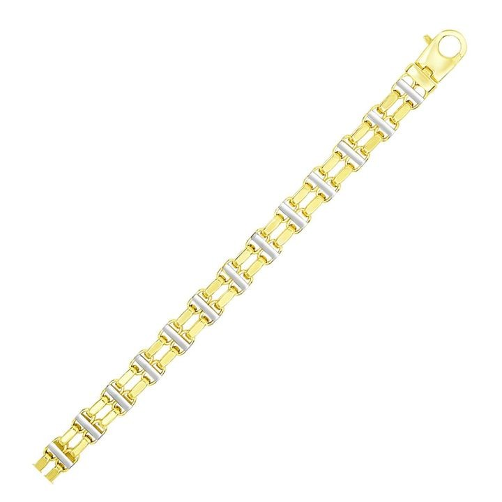 14k Two-Tone Gold Men's Bracelet with Two Rows of Bar Links