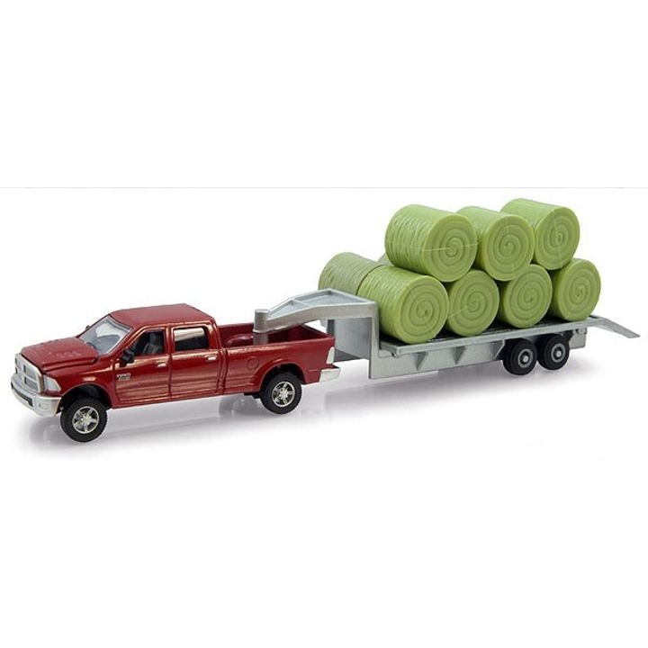 Case Ram Pickup Truck with Trailer & Hay Bales