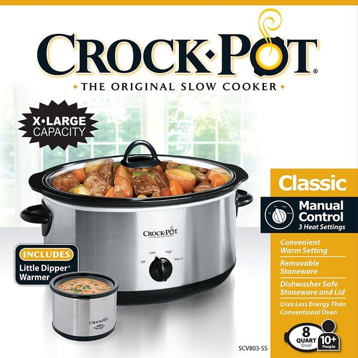 8 Qt Slow Cooker With 16 Oz Little Dipper Food Warmer