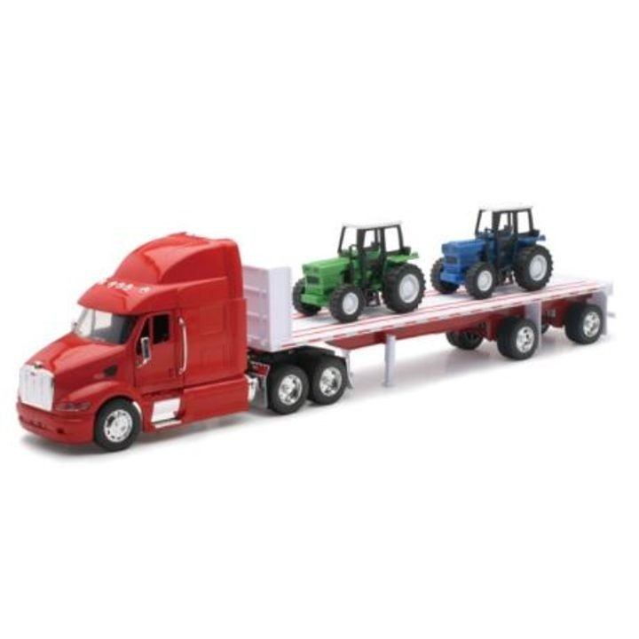 1:32 Scale Die-Cast Peterbilt 387 Flatbed Tractor Trailer with 2 Farm Tractors