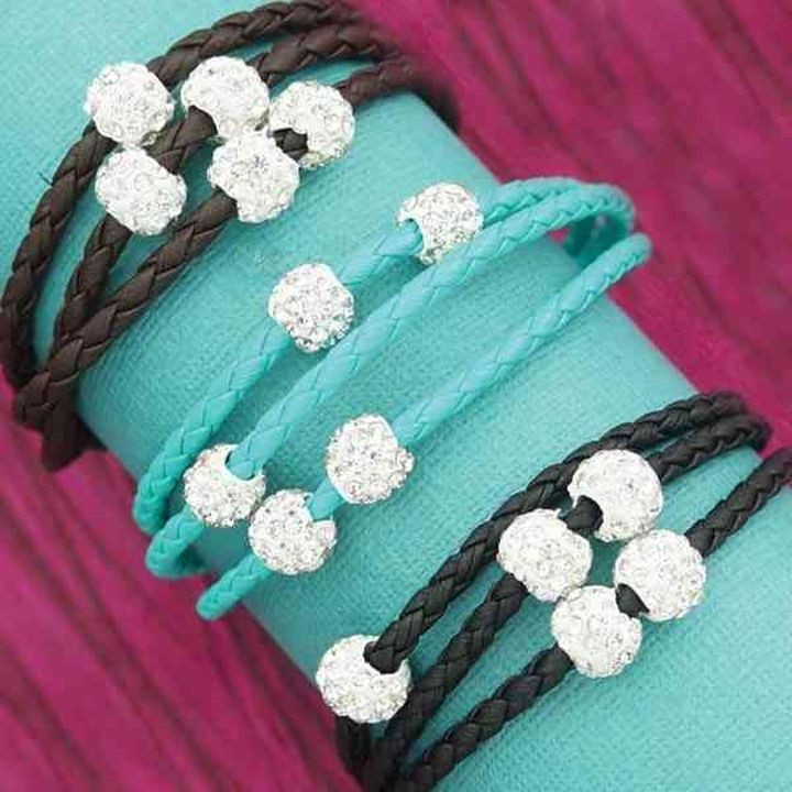 Ladies' Bling & Braided Wrapped Bracelet