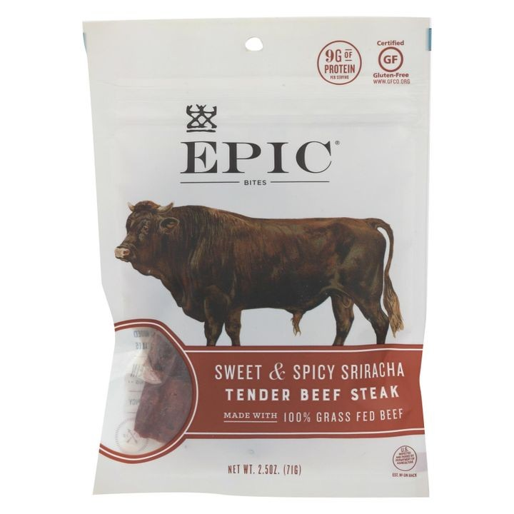 - Jerky Bites - Sweet And Spicy Sriracha Tender Beef Steak - Case Of 8 - 2.5 Oz.