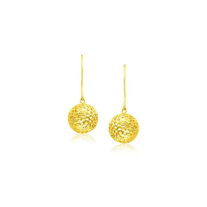 14k Yellow Gold Dangling Round Mesh Earrings