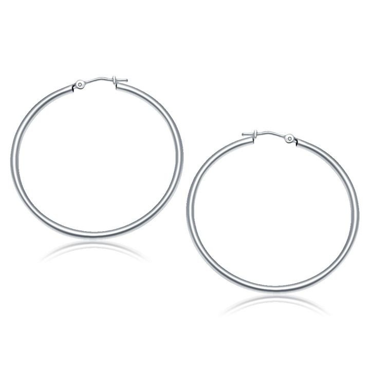 10k White Gold Polished Hoop Earrings (40 mm)