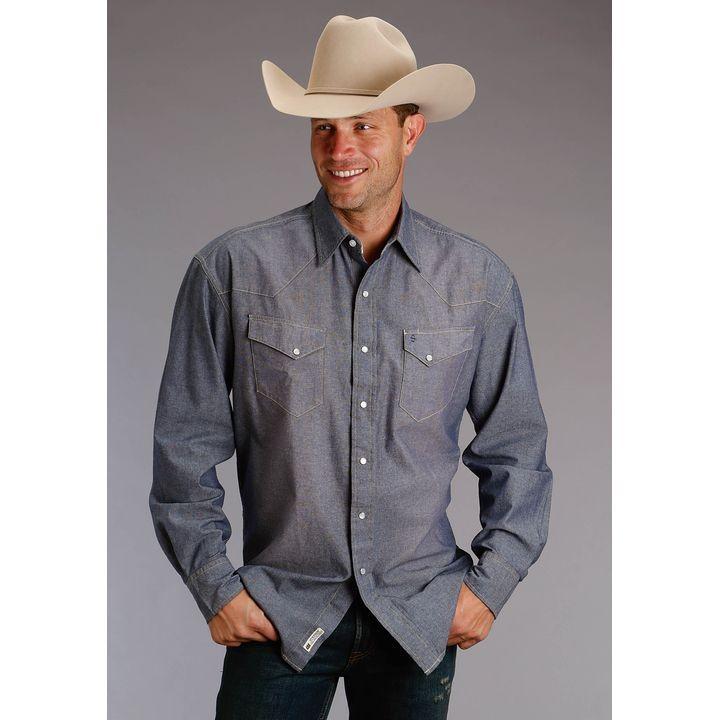 b276b6c49e Mens Chambray Ls Western Shirt Long Sleeve Shirt