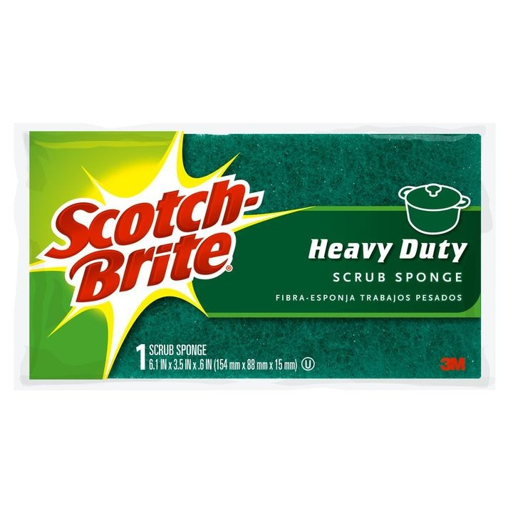"Scotch-Brite® Large Heavy Duty Scrub Sponge 6.1""x3.5""x .6"" 1 Pack"