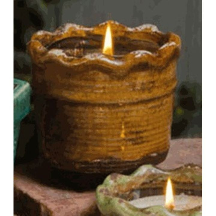 """Gingerbread"" Scented Ruffled Pottery Soy Candle"
