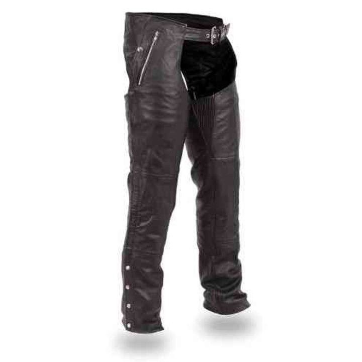 Double Deep Pocket Black Leather Chaps