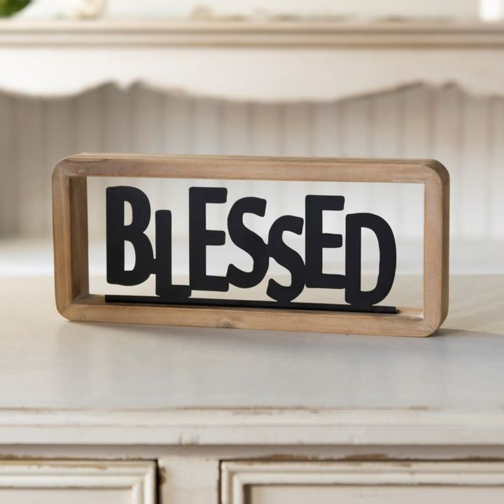 """Blessed"" Metal  & Wood Tabletop Sign 11.75"" x 5"""