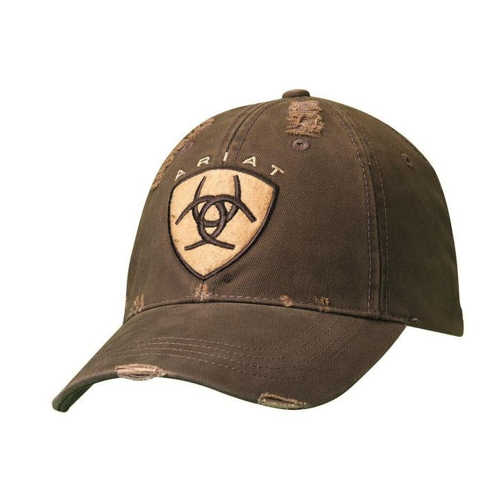 8f992595 Mens Ariat Western Embroidered Logo Brown Hat | Theisen's Home & Auto