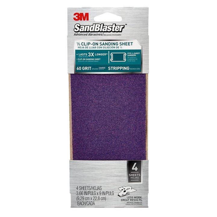 3 sheets 3M Sandblaster Sandpaper Heavy Paint Stripping 60 Coarse