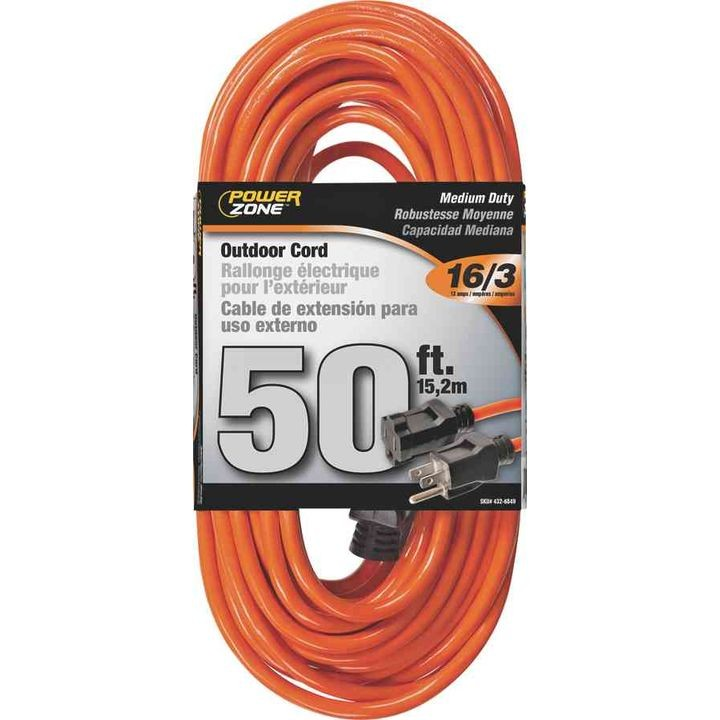 50-Foot 16/3 Vinyl Extension Cord