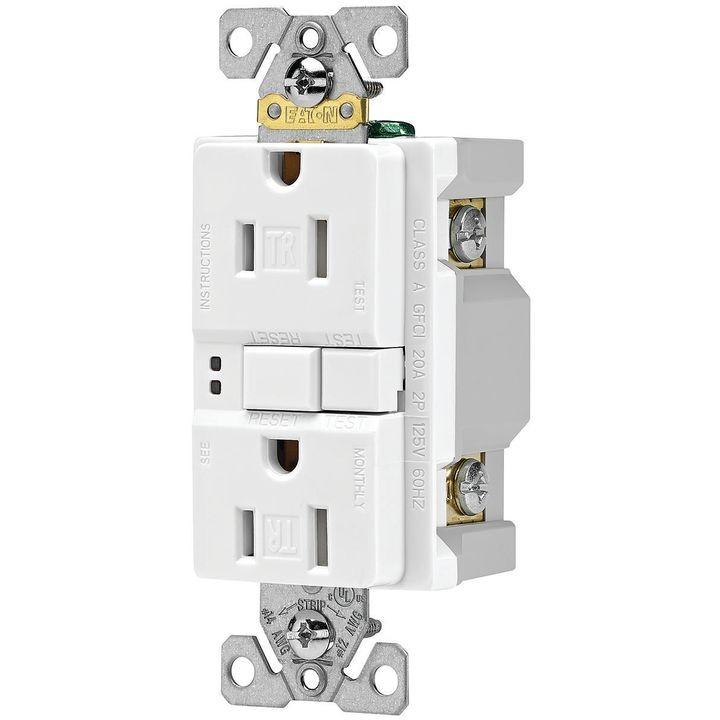 eaton wiring devices trsgf15w duplex gfci receptacle, 15 a, 2 pole, 5 15r
