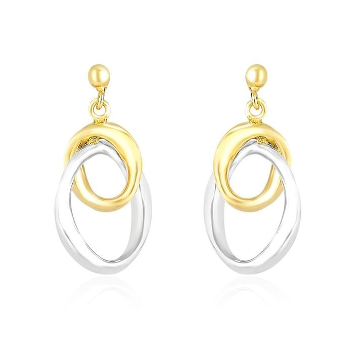14k Two-Tone Gold Drop Earrings with Interlaced Oval Sections