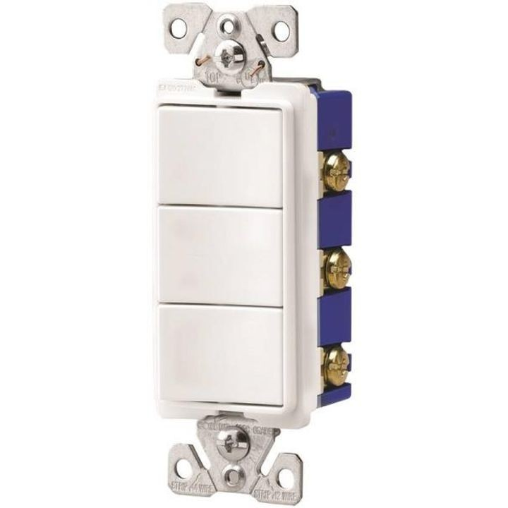 15 A, 120/277 VAC, 1 Pole Decorator Single Combination Switch