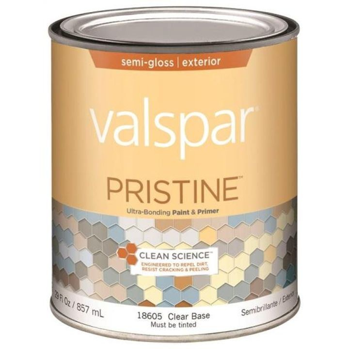 1 Quart Semi-Gloss Clear Base Pristine Exterior Paint & Primer