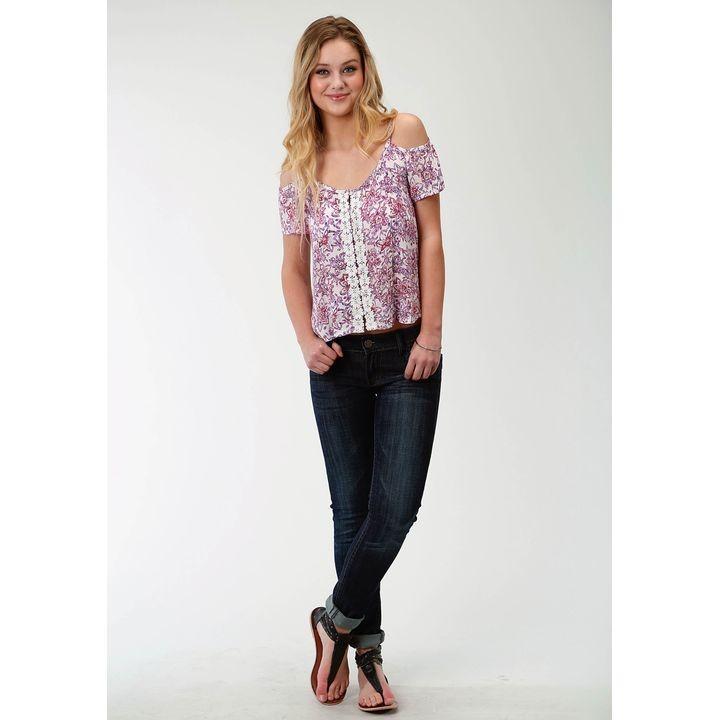 30e08c096963a ... Womens Floral Prt Cold Shoulder Blouse Short Sleeve Shirt ...