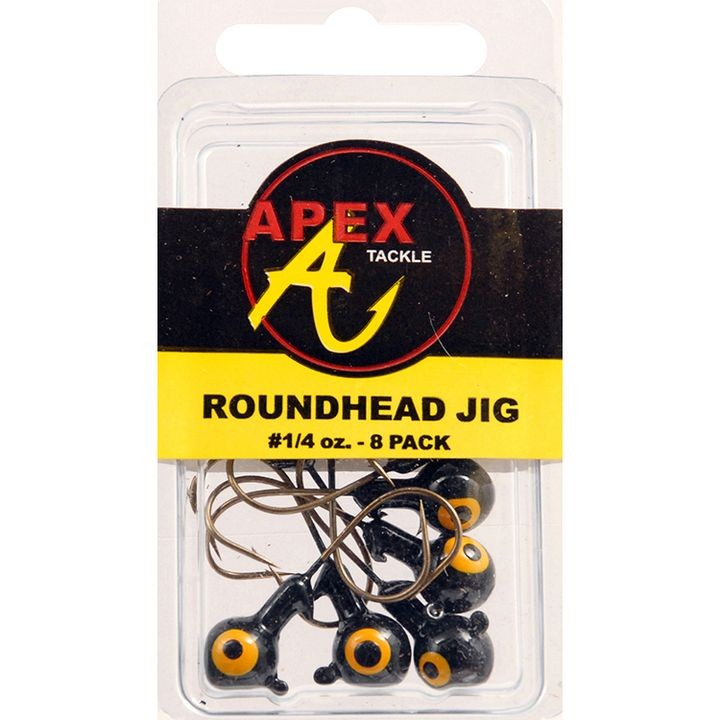 1/4 oz Roundhead Black Jigs - 8 ct