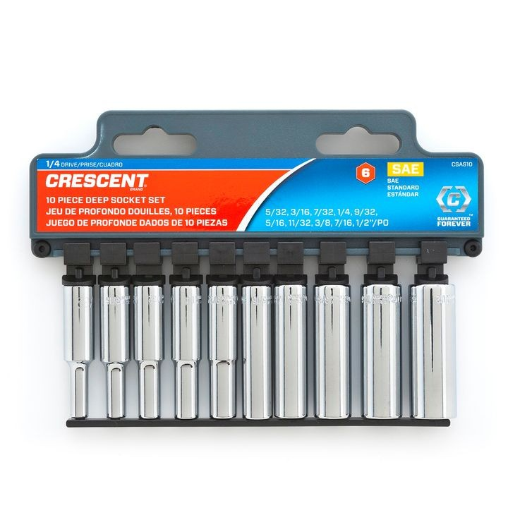 "10 Pc. 1/4"" Drive 6 Point SAE Deep Socket Set"