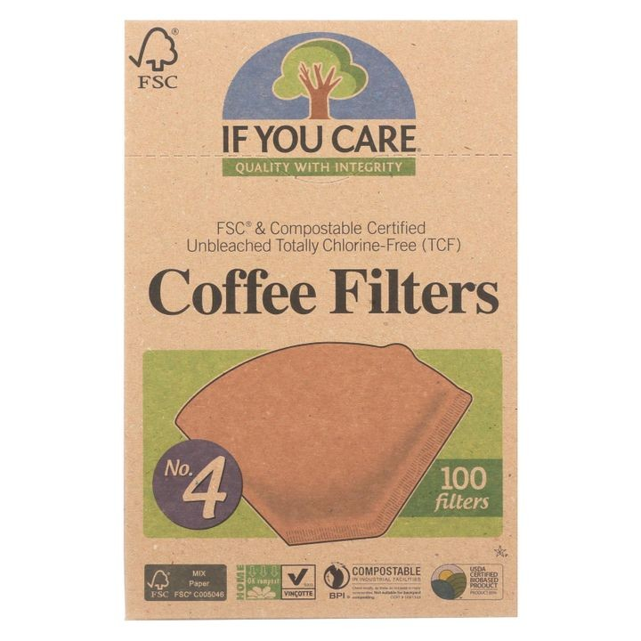 #4 Cone Coffee Filters - Brown - Case Of 12 - 100 Count