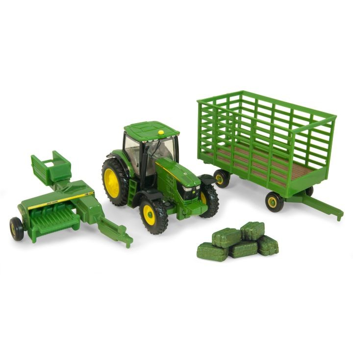 John Deere 6210 Tractor with Baler and Wagon