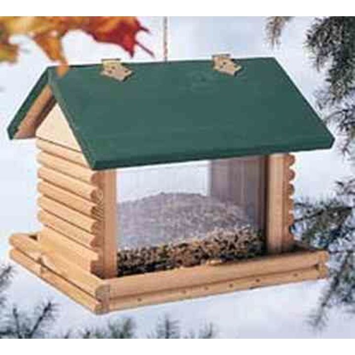 Large Hanging Log Cabin Bird Feeder