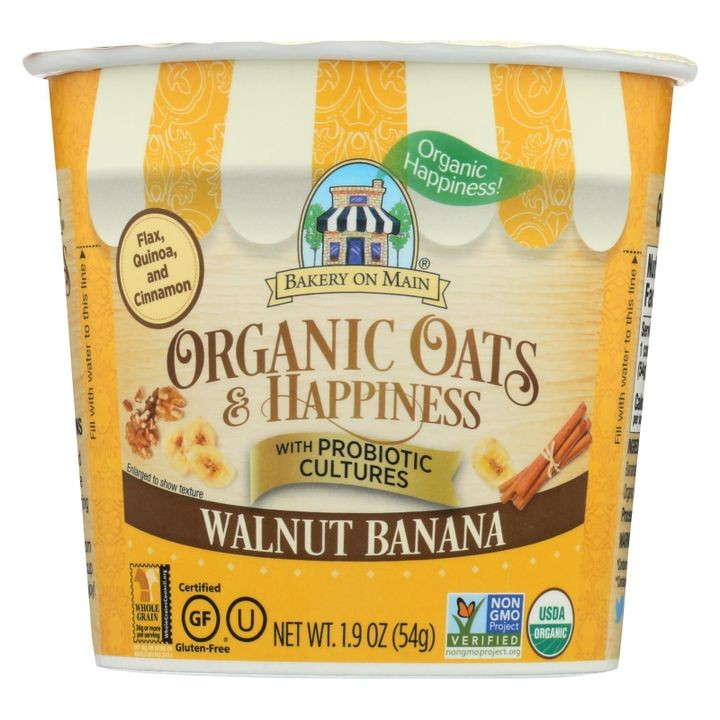 Bakery On Main Oats And Happiness Oatmeal Cup Walnut Banana Case Of 12 1 9  Oz