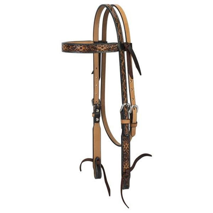 "1"" Cross Floral Tooled Browband Headstall"