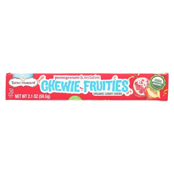 - Chewy Fruities Organic Candy Chews - Pomegranate And Nectarine - Case Of 18 - 2.1 Oz