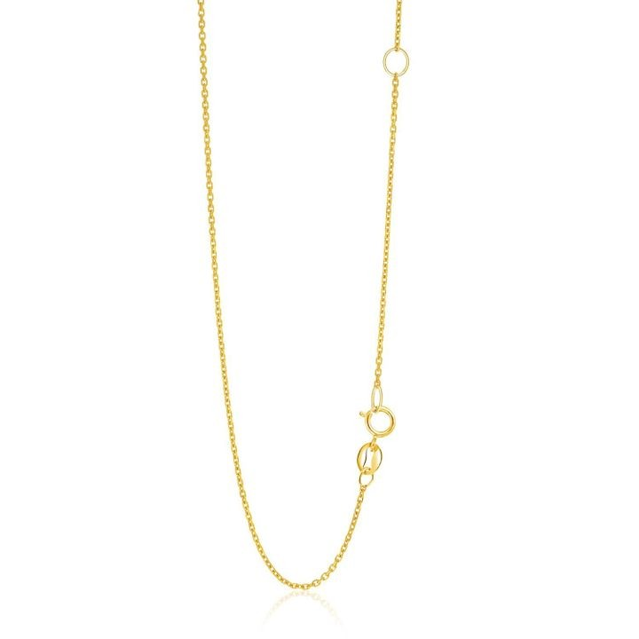 14k Yellow Gold Adjustable Cable Chain 1.1mm
