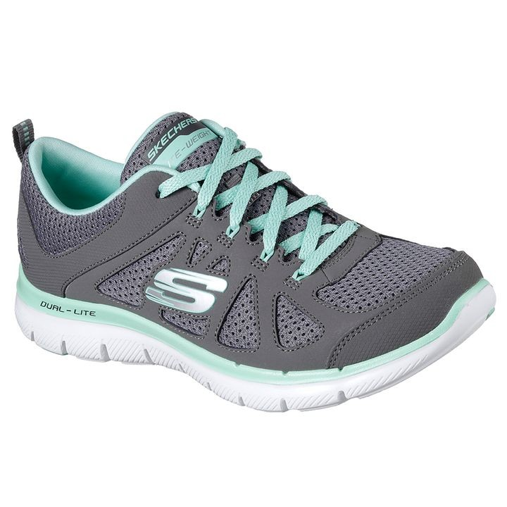 "Ladies' ""Flex Appeal 2.0 - Simplistic"" Sneaker in Charcoal and Mint"