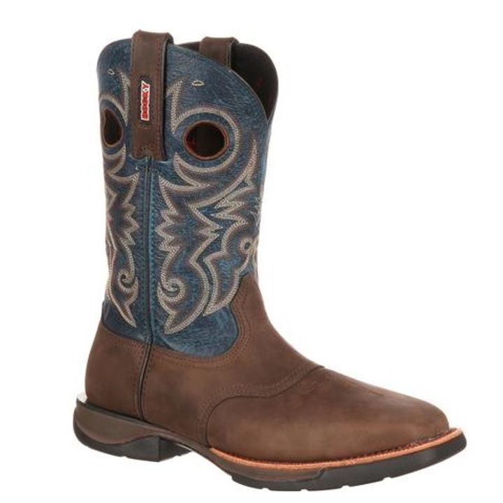 "Men's Brown & Blue 11"" Pull-On Saddle Western Steel Toe Boot"