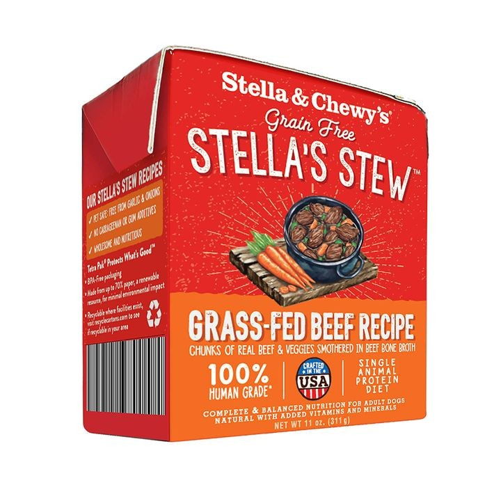 11 Oz Stella's Stew Grass Fed Beef Recipe Grain Free Wet Dog Food