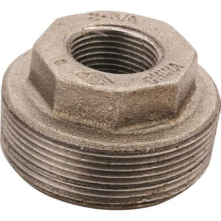 "1/2"" x 3/8"" MIP x FIP Malleable Iron Pipe Hexagonal Bushing"