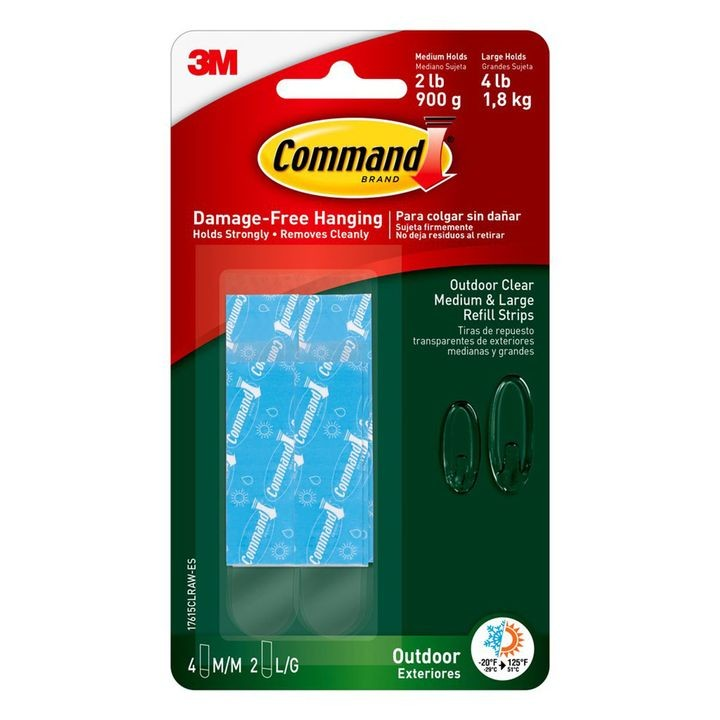 Command™ Outdoor Medium & Large Clear Strip Refill Kit