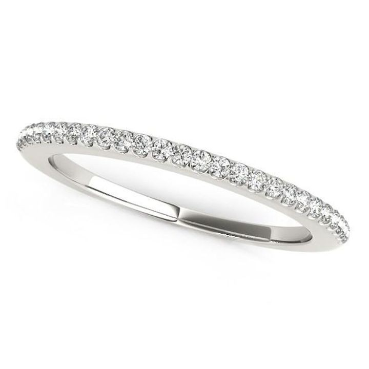 14k White Gold Pave Scallop Setting Diamond Wedding Band (1/8 cttw)