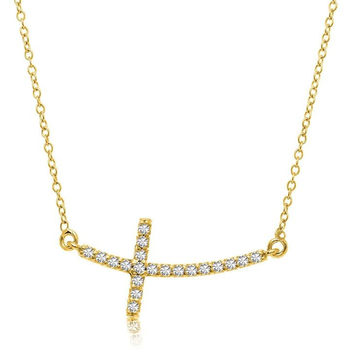 14k Yellow Gold Curved Crucifix Diamond Accented Necklace (.21cttw)