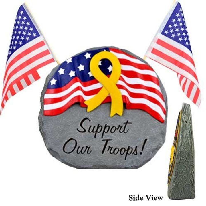 """Support Our Troops"" Patriotic Garden Stone"