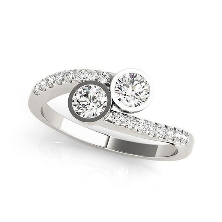 14k White Gold Round Bezel Setting Two Stone Diamond Ring (5/8 cttw)