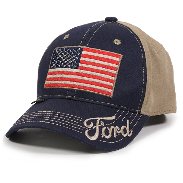 Ford classic american flag cotton hunting hat theisen 39 s for American flag fish hat