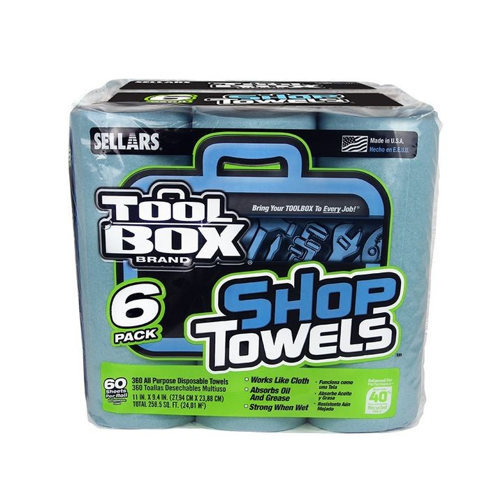 Tool Box Brand Blue Shop Towels - 6 Pack